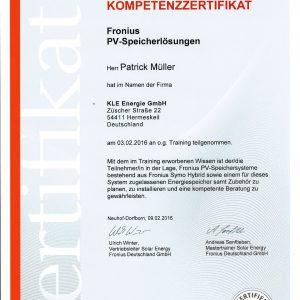 Kompetenzzertifikat_Fronius_Speicherlösungen_Müller,Patrick-1